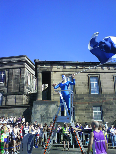 Scottish flag being waved at the start line