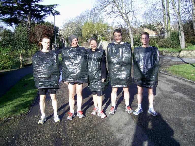 Bin bag fashion, to keep us warm before the start