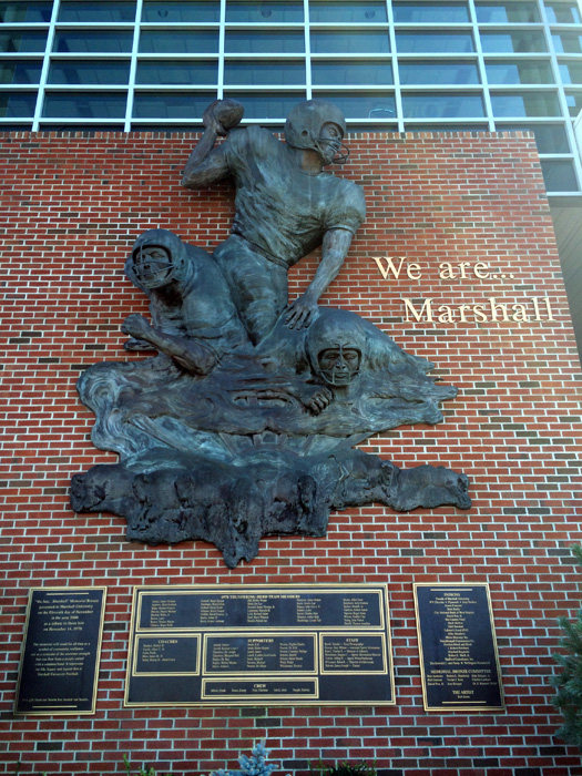 Memorial to the team on the side of the University building