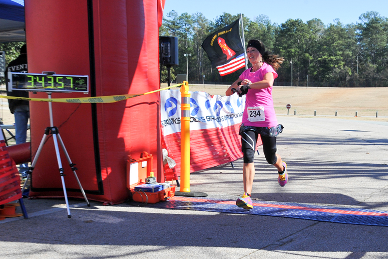 Leah finishing as the 1st female