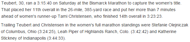Leah's mention in the Bismarck Tribune newspaper